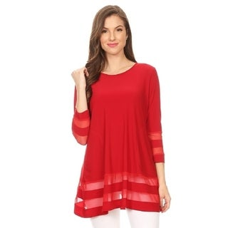 High Secret Women's Solid Mesh Striped Detailed Loose Fit Tunic Top