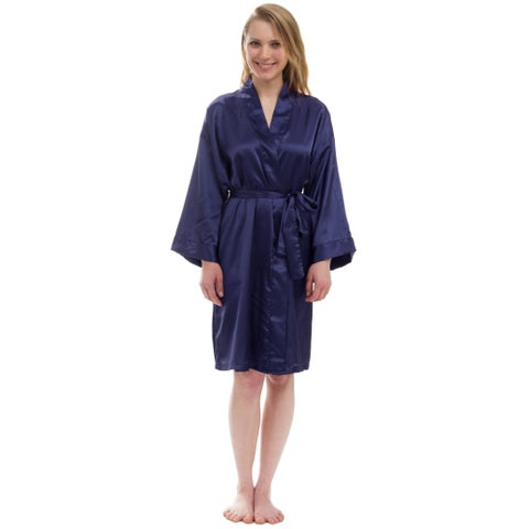 Women's Silky Satin Robe, Solid Satin Robe