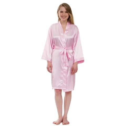 Women's Silky Satin Robe, Solid Satin Robe