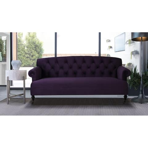 Gracewood Hollow Alfonzo Purple Tufted Sofa with Rolled Arms