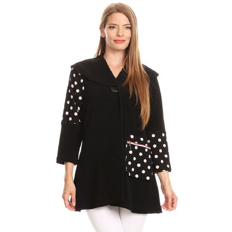 High Secret Women's Polka Dot Solid Contrast Jacket with Pocket