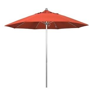 Magnolia Garden 9' Push Lift Aluminum/Fiberglass Umbrella with Olefin Fabric - Sunset Orange
