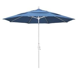 Magnolia Garden 11' Collar-Tilt Crank Lift Matte White Umbrella with Olefin Fabric - Frost Blue