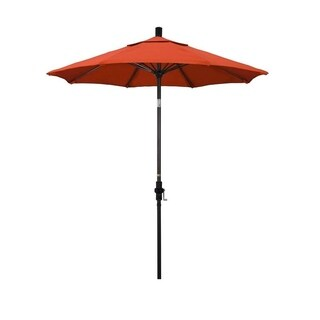 Magnolia Garden 7.5' Collar-Tilt Crank Lift Dark Bronze Umbrella with Olefin Fabric - Sunset Orange