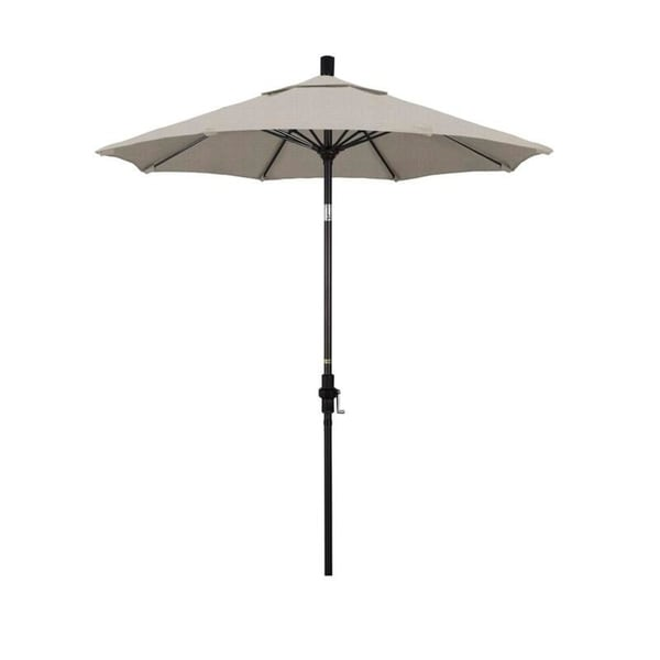 Magnolia Garden 7.5' Collar-Tilt Crank Lift Dark Bronze Umbrella with Olefin Fabric - Woven Granite