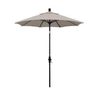 Magnolia Garden 7.5' Collar-Tilt Crank Lift Dark Bronze Umbrella with Olefin Fabric - Woven Granite