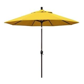 Magnolia Garden 9' Push Button-Tilt Crank Lift Dark Bronze Umbrella with Olefin Fabric - Lemon
