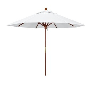 Magnolia Garden 9' Push-Lift Classic Hardwood Umbrella with Olefin Fabric - Natural White
