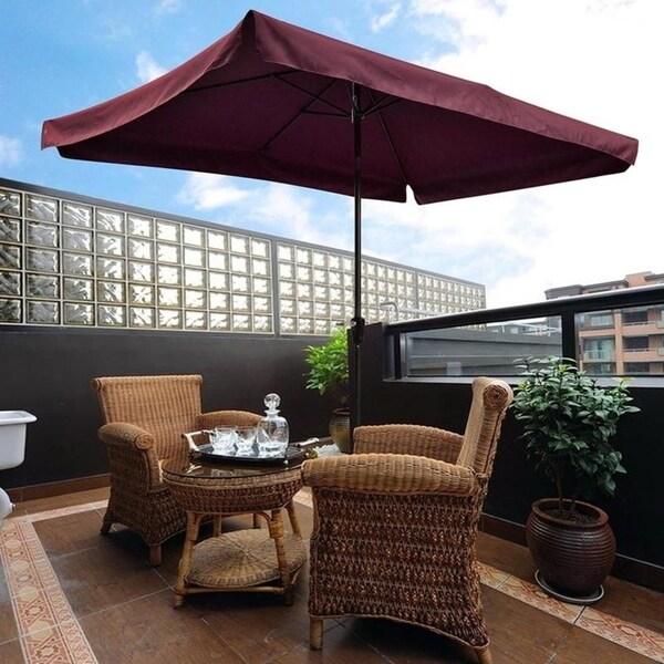 10 X6 5 Wine Rectangular Outdoor Tilting Patio Umbrella Free Shipping Today 22124164