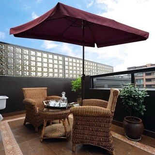 10'X6.5' Wine Rectangular Outdoor Tilting Patio Umbrella