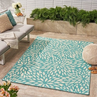 Simone Indoor/ Outdoor Floral Area Rug by Christopher Knight Home - 5 x 8