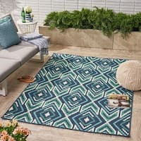 Myrtle Indoor/ Outdoor Geometric Area Rug, Navy and Green