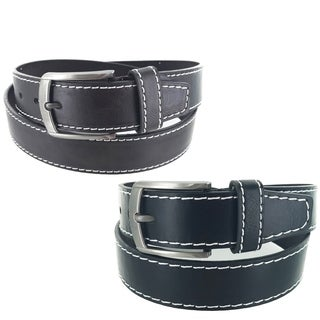 Men's Leather Classic Heritage Business Single Prong Buckle Belt G315