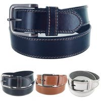 Men's Leather Classic Heritage Business Single Prong Buckle Belt G313