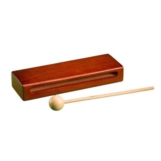 Rhythm Band Wood Block with Mallet in Dark Mahogany Finish
