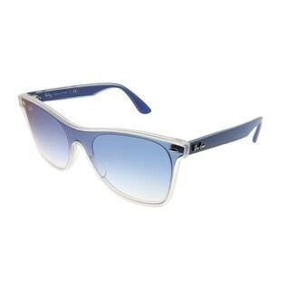 Ray-Ban Wayfarer RB 4440N Blaze Wayfarer 6356X0 Unisex Matte Trasparent Frame Blue Gradient Mirror Red Lens Sunglasses
