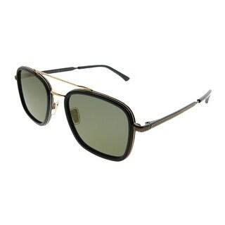 Jimmy Choo Square JCM John 2M2 K1 Unisex Black Gold Frame Gold Mirror Lens Sunglasses