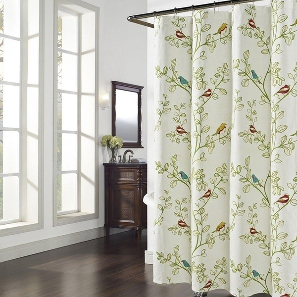 Shop Maria Green Leaves Shower Curtain - On Sale - Free Shipping On ...