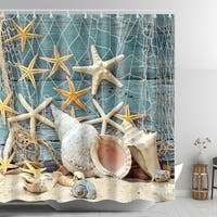 Seashell Conch Starfish Shower Curtain