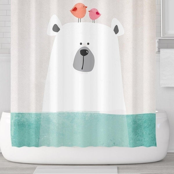 Cartoon Polar Bear In Water Shower Curtain Set