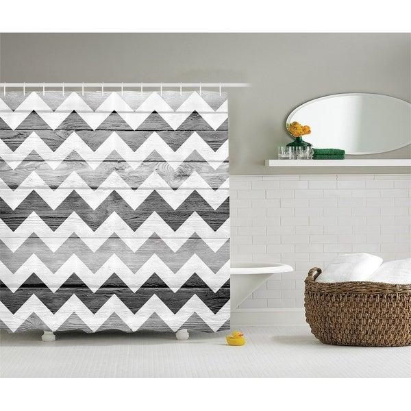 Shop Grey Chevron Shower Curtain Geometric Illustration Decorations
