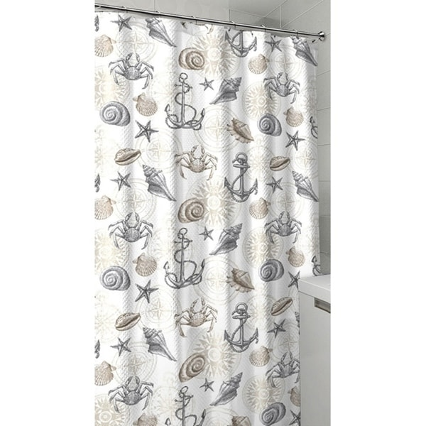 Shop Nautical Ocean Sea Life Theme Canvas Fabric Shower Curtain