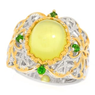 Michael Valitutti Palladium Silver Australian Prehnite and Chrome Diposide Band Ring