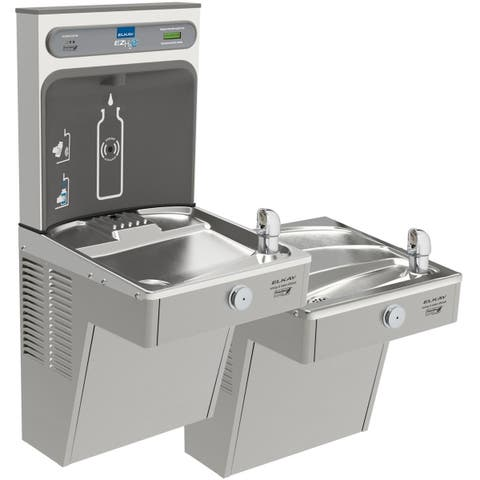Elkay EZH2O Bottle Filling Station, & Bi-Level High Efficiency Vandal-Resistant Cooler, Filtered 8 GPH Stainless