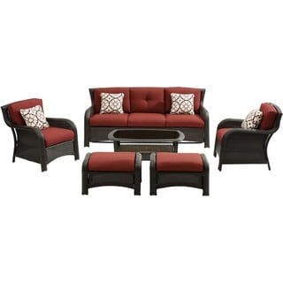 Hanover Strathmere 6-Piece Lounge Set in Crimson Red
