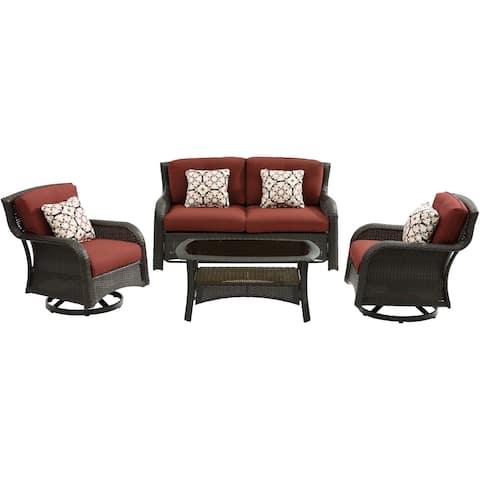 Hanover Strathmere 4-Piece Lounge Set in Crimson Red