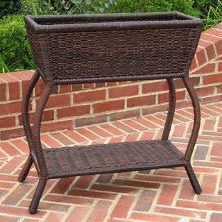 International Caravan Woven Wicker Rectangular Plant Stand