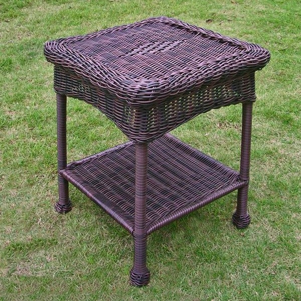 shop international caravan pvc steel outdoor side table free shipping today overstock. Black Bedroom Furniture Sets. Home Design Ideas