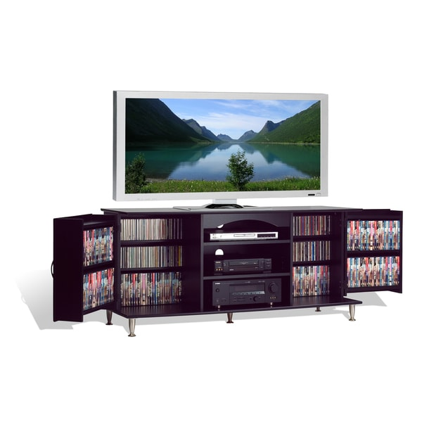 Broadway black large flat panel plasma lcd tv console for Tv console with storage