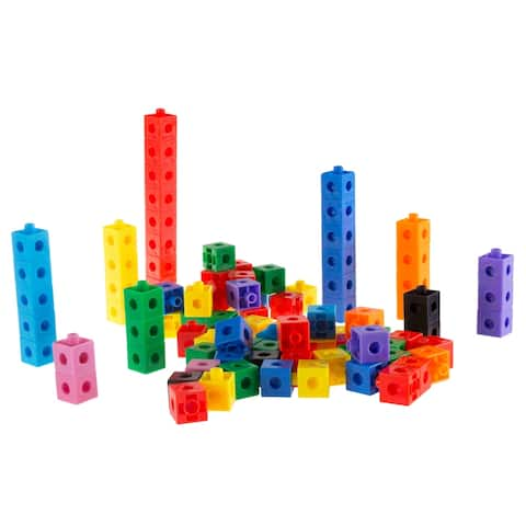 Building Block Cube Set- 100 Piece Colorful Plastic Snap Cubes for Educational Fun and STEM Learning by Hey! Play!
