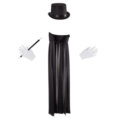 Kids Magician Costume Set-Dress Up Outfit with Cape, Top Hat, Gloves - Fun Pretend Play Magic Show Accessories by Hey! Play!
