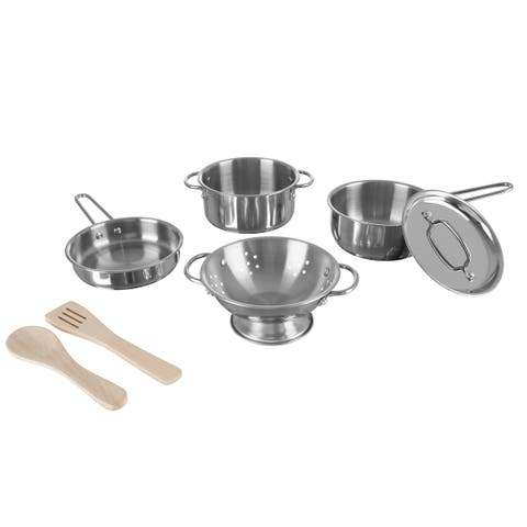 Kids Pots and Pans-Mini Stainless-Steel Colander, Pot, Skillet, Sauce Pan, Lid and 2 Wooden Utensils- by Hey! Play! - Silver