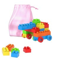 Building Blocks-Classic 90 Piece Set with Storage Bag-Stacking, Sorting, Color, STEM Learning Toy by Hey! Play!