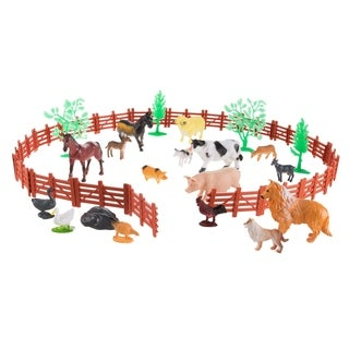 Toy Farm Animal Figures and Barnyard Accessories Set-Includes Fence, Horses, Cows, Pigs, Chickens and More Animals by Hey! Play!