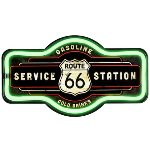 American Art Decor Vintage Route 66 Marquee Shaped LED Light Up Sign Wall Decor for Man Cave Bar Garage