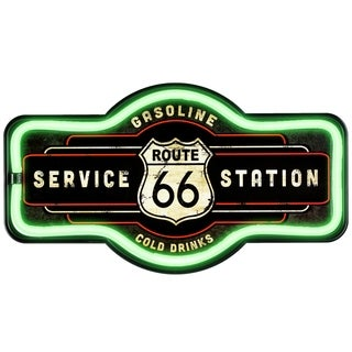 Millennium Art Vintage Route 66 Marquee Shaped LED Light Up Sign Wall Decor for Man Cave Bar Garage