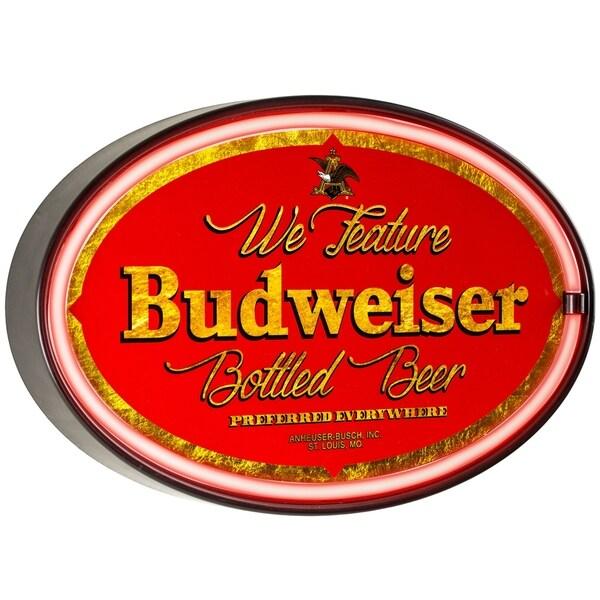 Millennium Art Vintage Budweiser Oval Shaped LED Light Up Sign Wall Decor for Man Cave Bar Garage 36914000