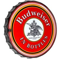 Millennium Art Budweiser Bottle Cap Shaped LED Light Up Sign Wall Decor for Man Cave Bar Garage