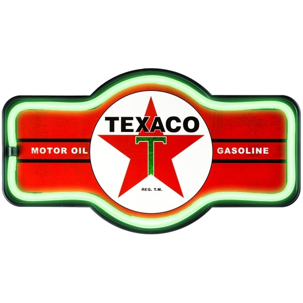 American Art Decor Vintage Texaco Marquee Shaped LED Light Up Sign Wall Decor for Man Cave Bar Garage