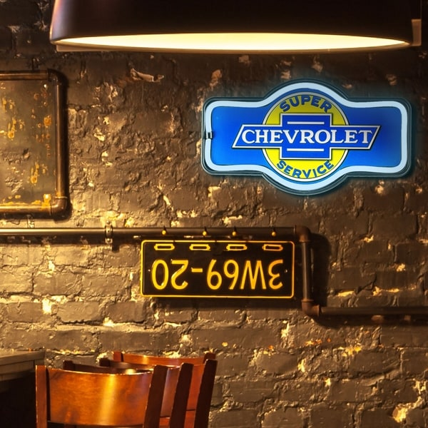"""17/"""" Marquee Shape Bar Garage Man Cave Decor Chevrolet LED Neon Rope Light Sign"""
