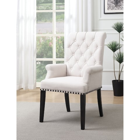 Weber Traditional Beige Upholstered Armchair - N/A
