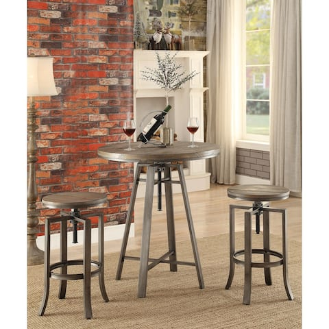 """Industrial Adjustable Height Round Bar Table - 35"""" x 32"""""""