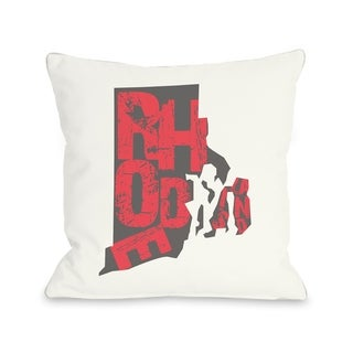 Rhode Island State Type  Pillow by OBC