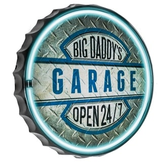 American Art Decor Big Daddy's Garage Bottle Cap Shaped LED Light Up Sign Wall Decor for Man Cave Bar Garage
