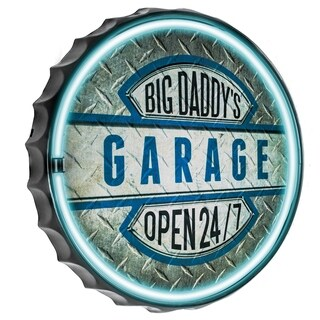 Millennium Art Big Daddy's Garage Bottle Cap Shaped LED Light Up Sign Wall Decor for Man Cave Bar Garage