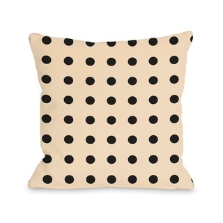 Penny Polka Dots Cream - Black  Pillow by OBC